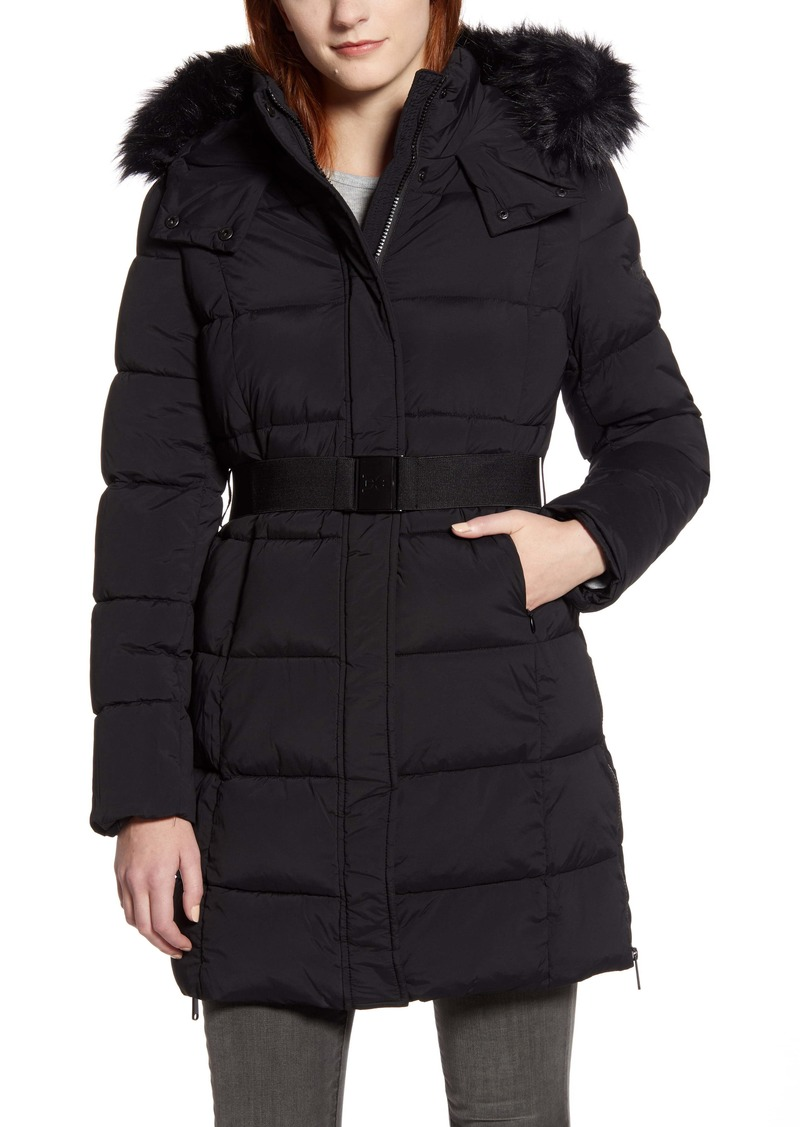 Sam Edelman Removable Faux Fur Trim Belted Puffer Coat