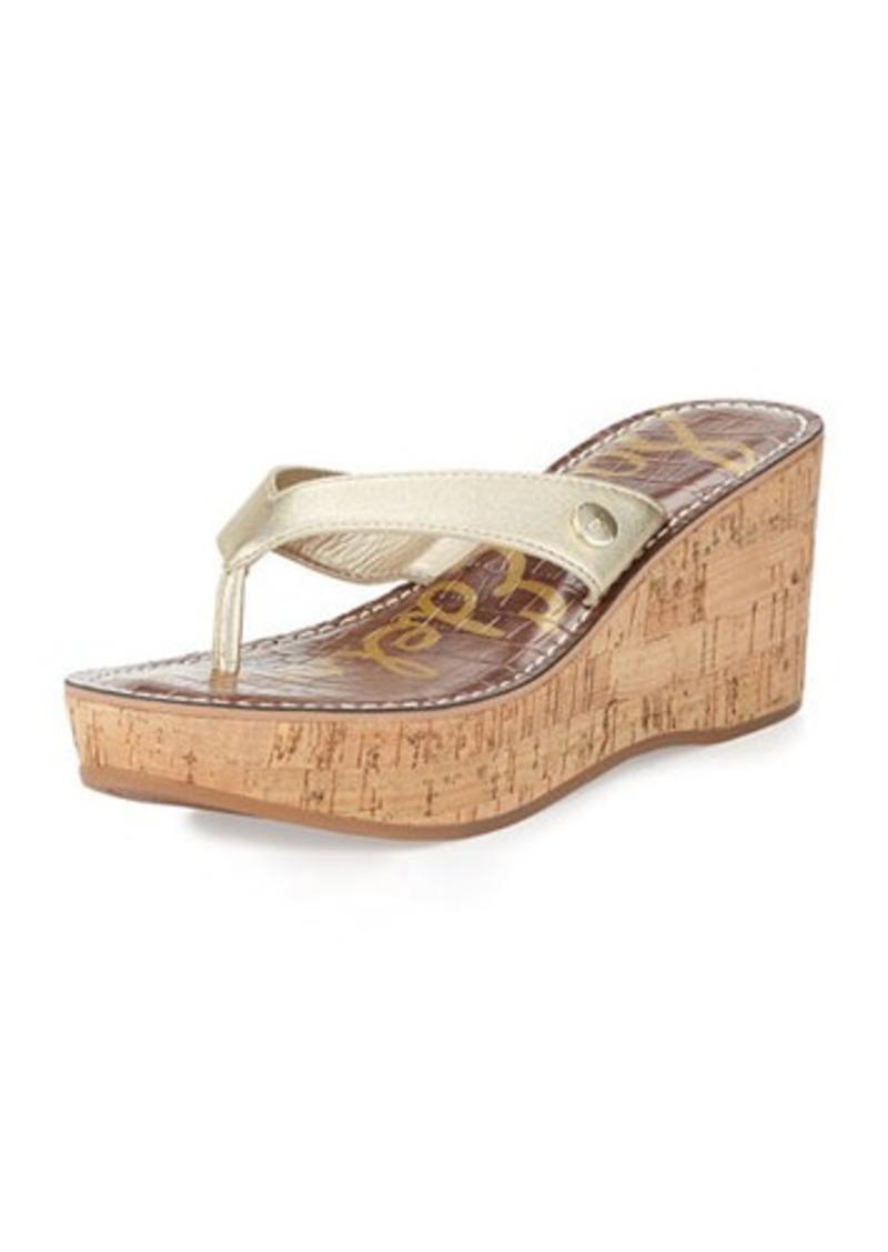 Sam Edelman Romy Metallic Leather Wedge Sandal