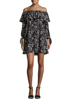 Sam Edelman Rose-Print Off-the-Shoulder A-Line Dress