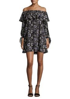 Sam Edelman Rose-Print Off-the-Shoulder A-Line Dress
