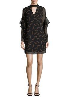 Sam Edelman Ruffle-Sleeve Feather Shift Dress