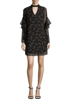 Sam Edelman Ruffle-Sleeve Feather Shift Dress