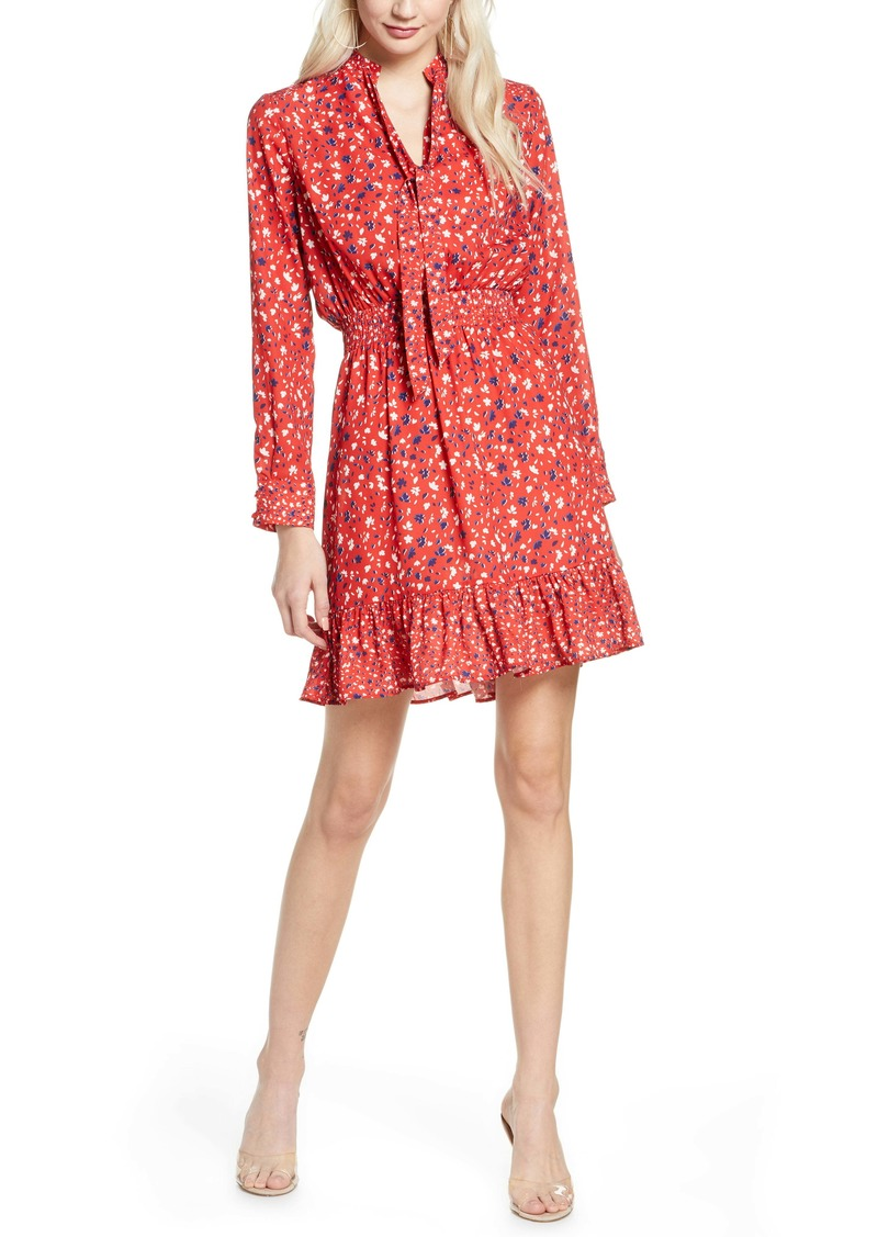 Sam Edelman Speckle English Rose Long Sleeve Fit & Flare Dress