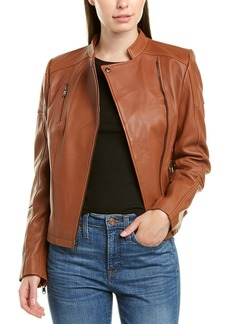 Sam Edelman Stand Collar Leather Jacket