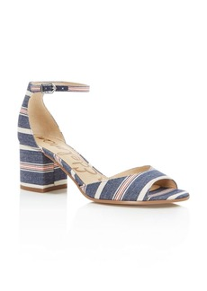 Sam Edelman Susie Striped Denim Open Toe Block Heel Sandals