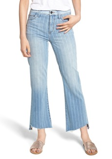 Sam Edelman The Chelsea Striped Wide Leg Crop Jeans (Indigo Stripe)