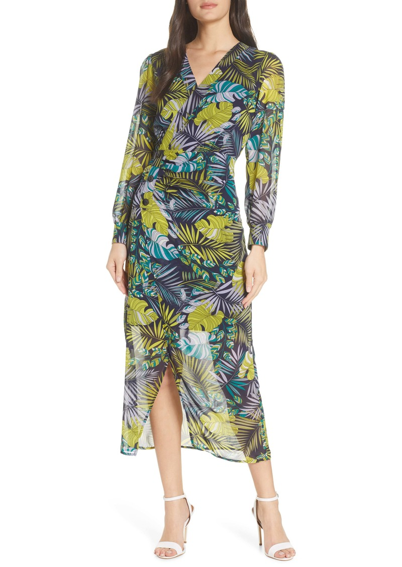 Sam Edelman Tropics Long Sleeve Chiffon Midi Dress