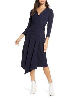 Sam Edelman V-Neck Long Sleeve Asymmetrical Faux Wrap Dress