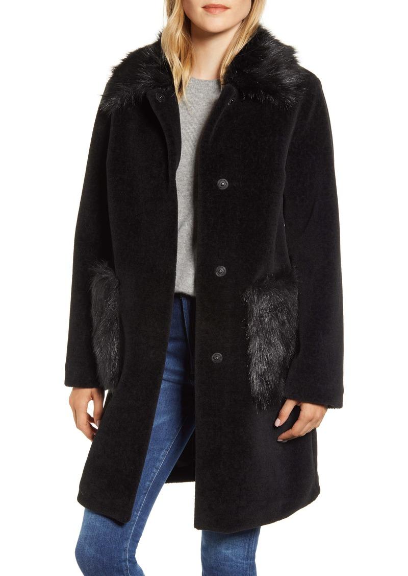 Sam Edelman Velvet Front Coat with Faux Fur Trim