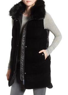 Sam Edelman Velvet Front Vest with Faux Fur Collar