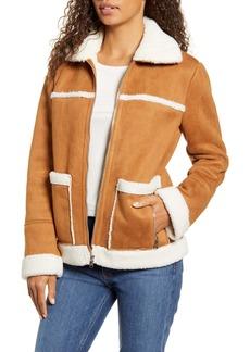 Sam Edelman Water Resistant Faux Shearling Trim Jacket