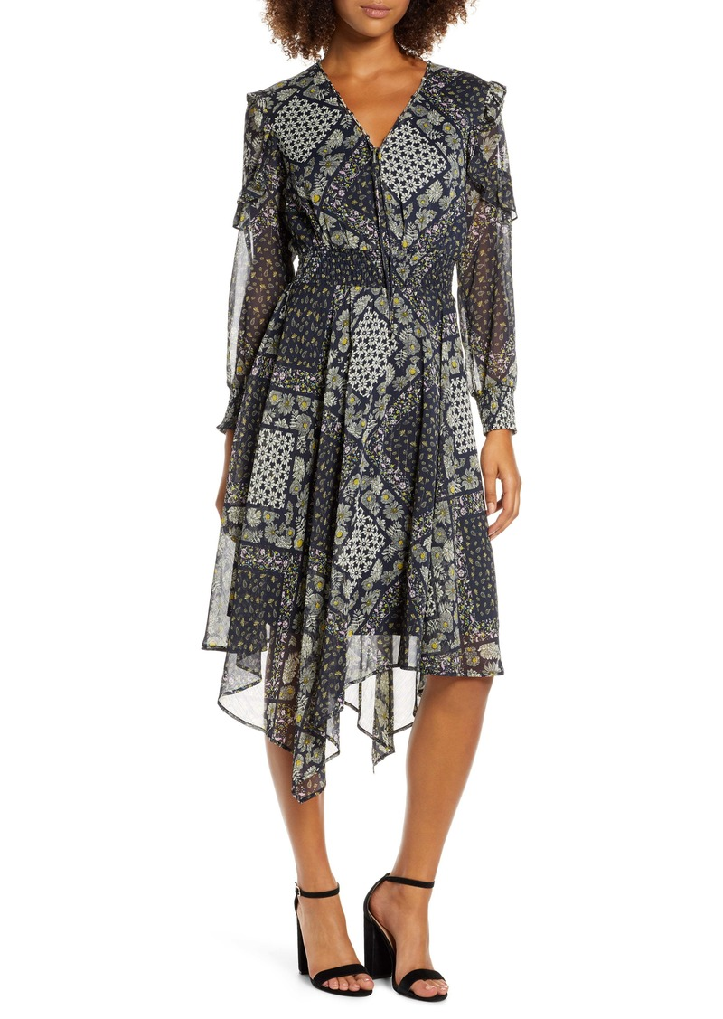 Sam Edelman Western Flower Long Sleeve Handkerchief Dress