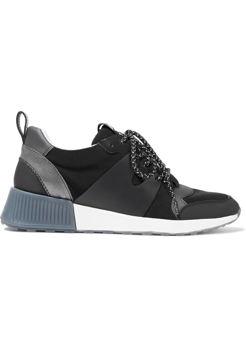 Sam Edelman Woman Darsie Metallic-trimmed Pvc And Mesh Sneakers Black