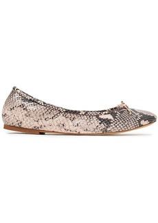 Sam Edelman Woman Felicia Bow-embellished Snake-effect Leather Ballet Flats Animal Print