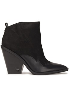 Sam Edelman Woman Ilah Leather-trimmed Suede Ankle Boots Black