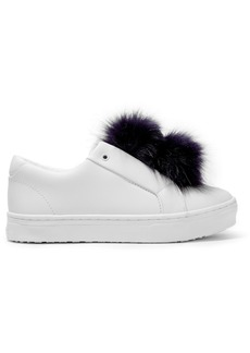 Sam Edelman Woman Leya Faux Fur-trimmed Leather Slip-on Sneakers White