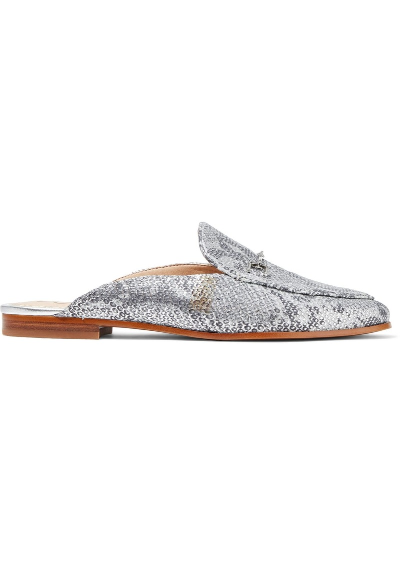 Sam Edelman Woman Linnie Metallic Snake-effect Leather Slippers Silver