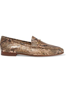 Sam Edelman Woman Loraine Embellished Metallic Snake-effect Leather Loafers Animal Print