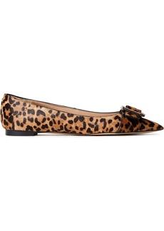 Sam Edelman Woman Sonja Buckle-embellished Leopard-print Calf Hair Point-toe Flats Animal Print
