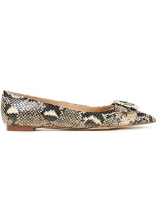 Sam Edelman Woman Sonja Buckle-embellished Snake-effect Leather Point-toe Flats Animal Print