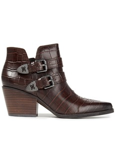 Sam Edelman Woman Windsor Buckled Croc-effect Leather Ankle Boots Chocolate