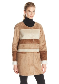 Sam Edelman Women's Aiden Color Block Shearling Coat