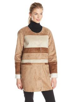 Sam Edelman Women's Aiden Color Block Shearling Coat  X-Small