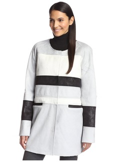 Sam Edelman Women's Aiden Faux Shearling Colorblock Coat