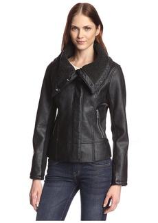 Sam Edelman Women's Amy Faux Leather Aviator oto Jacket