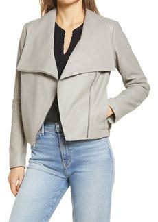 Sam Edelman Women's Drape Front Leather Bomber Jacket