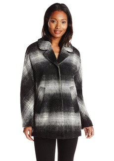 Sam Edelman Women's Erin Mohair Wool Plaid Coat Black/