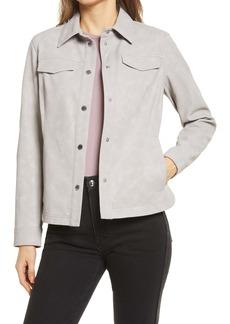 Sam Edelman Women's Faux Leather Crop Shirt Jacket