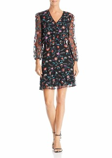 Sam Edelman Women's Floral Embroidered mesh Blouson Dress red Pansy
