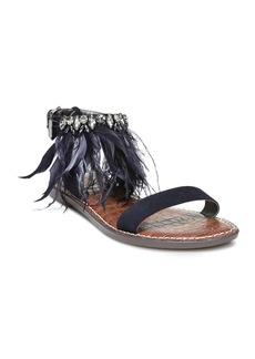 Sam Edelman Women's Genevia Embellished Suede Ankle Strap Sandals