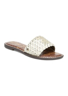 Sam Edelman Women's Geraldine Diamonte Crystal Embossed Leather Slide Sandals