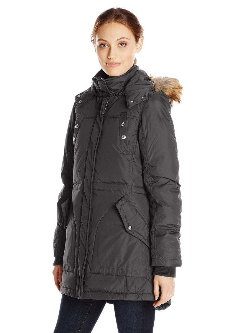Sam Edelman Women's Gina Puffer Parka with Faux Fur Trim Hood