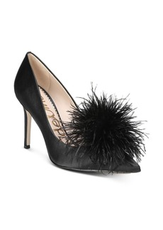 Sam Edelman Women's Haide Satin Feather Pom-Pom Pumps