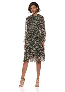Sam Edelman Women's High Neck Pleated Midi Dress
