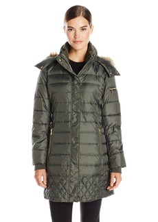 Sam Edelman Women's Lara Down Coat with Faux Fur Trim Hood