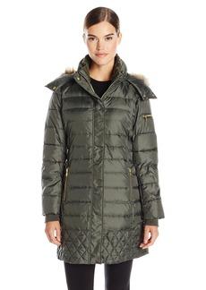 Sam Edelman Women's Lara Down Coat with Faux Fur Trim Hood  X-Large