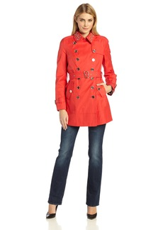 Sam Edelman Women's Lorissa Stud Collar Trench Coat  Large