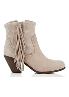 Sam Edelman Women's Louie Fringed Suede Ankle Boots
