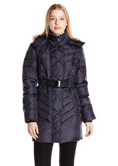 Sam Edelman Women's Nora Chevron Down Coat with Belt  X-Small