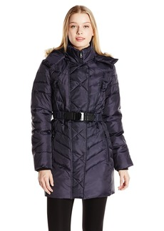 Sam Edelman Women's Nora Chevron Down Coat with Belt