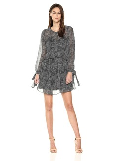Sam Edelman Women's One Tier Dress with Tie Sleeve