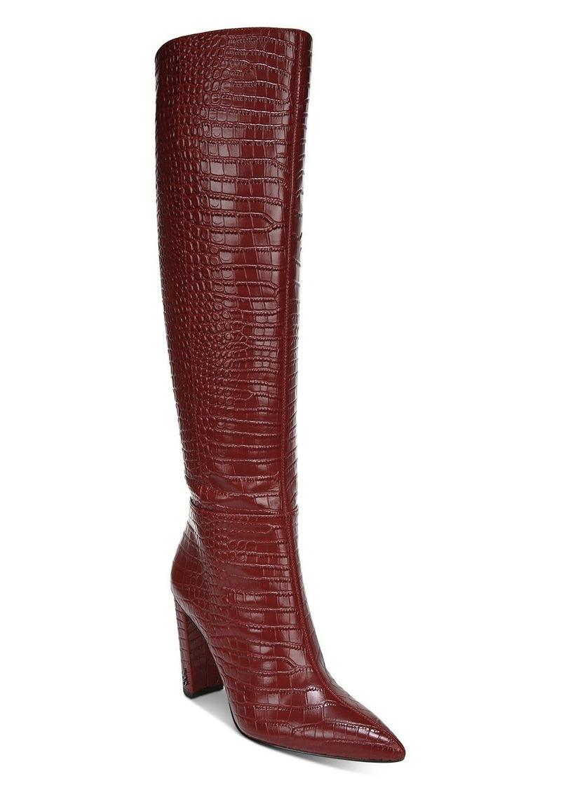 Sam Edelman Women's Raakel 2 Croc-Embossed Block Heel Tall Boots