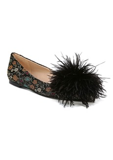 Sam Edelman Women's Reina Jacquard & Feather Pom-Pom Flats