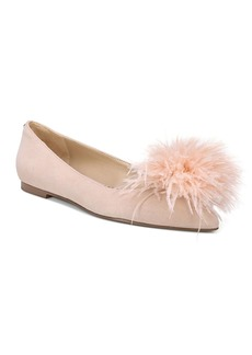 Sam Edelman Women's Reina Suede & Feather Pom-Pom Flats
