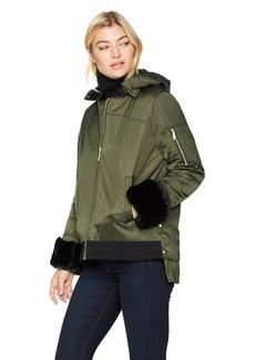 Sam Edelman Women's Satin Faux Fur Velvet Trim Bomber Jacket  L