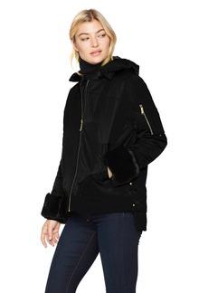 Sam Edelman Women's Satin Faux Fur Velvet Trim Bomber Jacket  XS